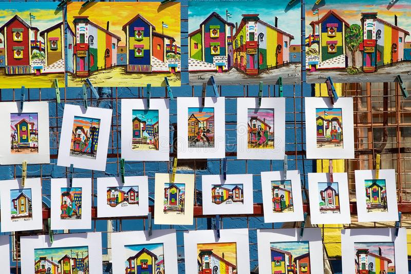 Paintings at La Boca, Buenos Aires, Argentina. Paintings of brightly painted houses for sale along the street in La Boca in Buenos Aires, Argentina. La Boca is a royalty free stock photos