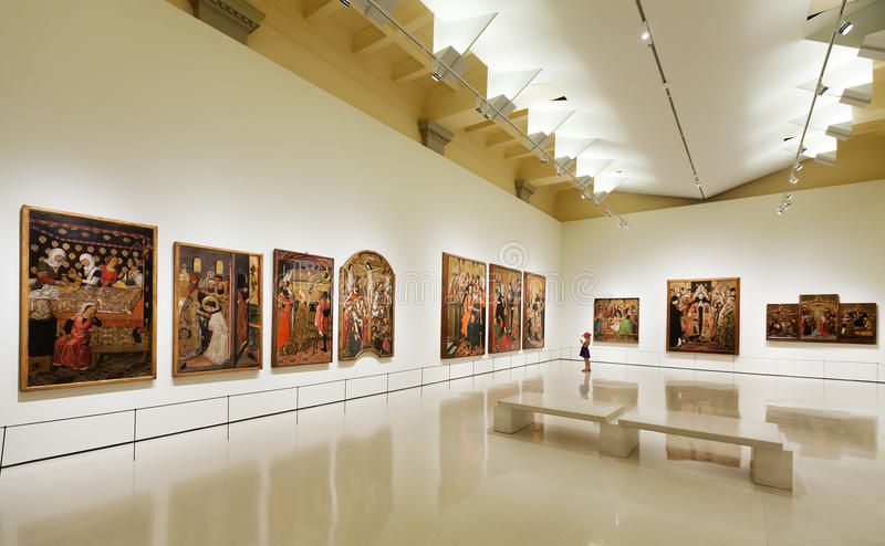Paintings in Medieval Gothic style Art hall stock photography