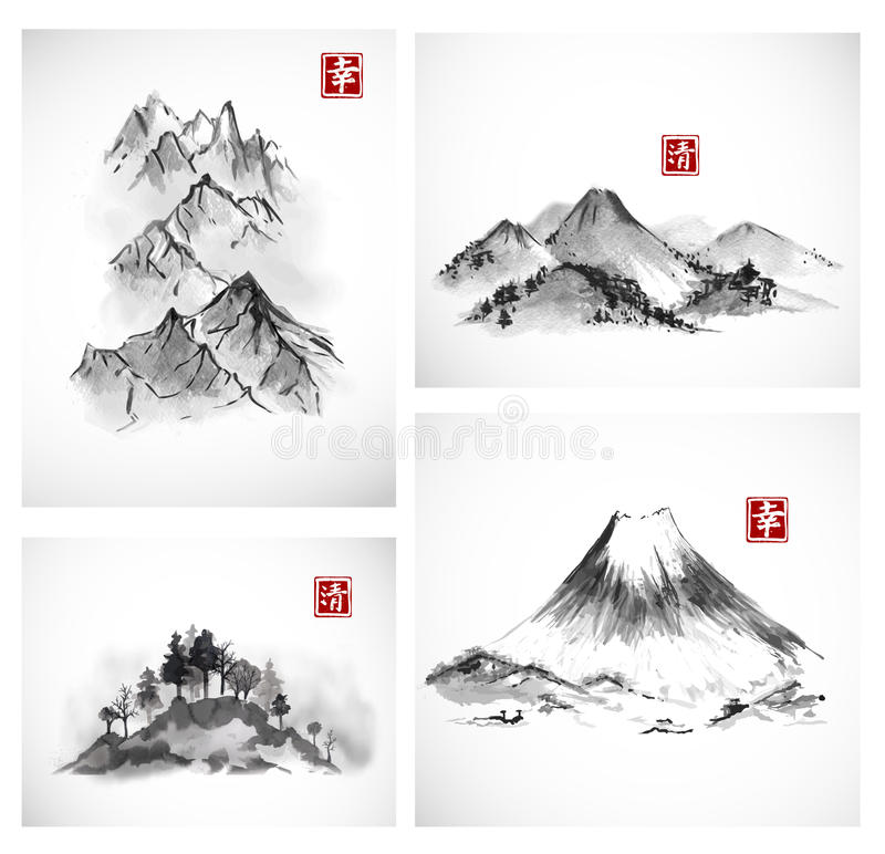 Paintings of mountains hand drawn with ink. royalty free illustration