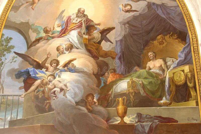 Holy angels in Cathedral of Saint Mary, Toledo, Castilla la Mancha, Spain. Wall paintings in the Monastery of Saint John of the Kings in the St Mary Cathedral in stock photo
