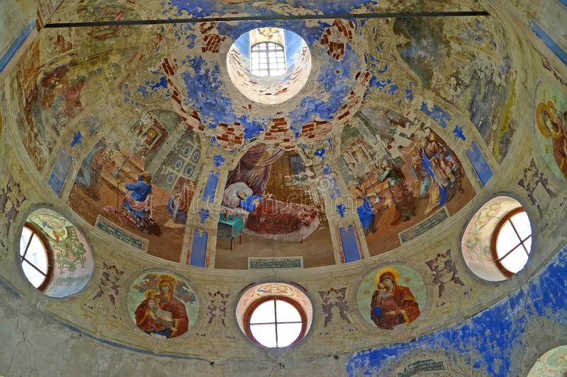 Paintings of subdome space. Church of the Fedorovsky icon of the Mother of God. Uglich, Yaroslavl region royalty free stock image
