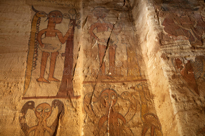Paintings on a wall, Ethiopia royalty free stock photos