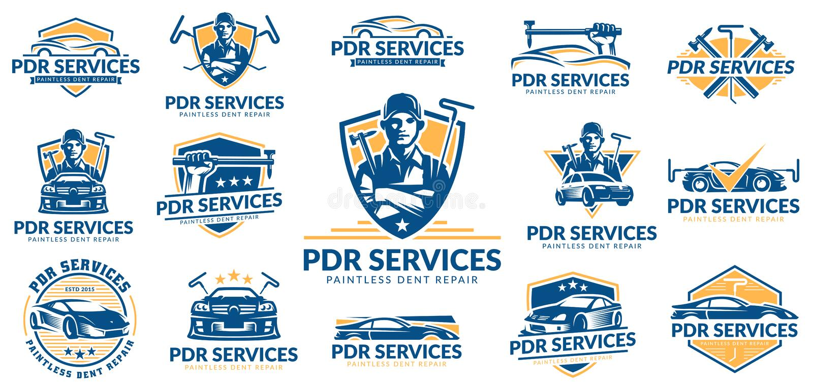 Paintless Dent Repair logo set, PDR service logo pack, vector collection royalty free illustration