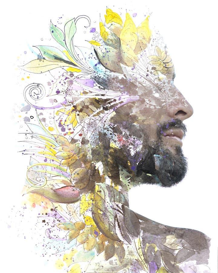 foto de Paintography Ritratto Di Profilo Di Doppia Esposizione Di Giovane Africa Fotografia Stock