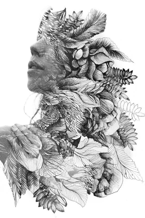 Paintografie Dubbele blootstelling sluit portret van een jonge natuurlijke schoonheid, met gezicht en haar in combinatie met met  stock foto's