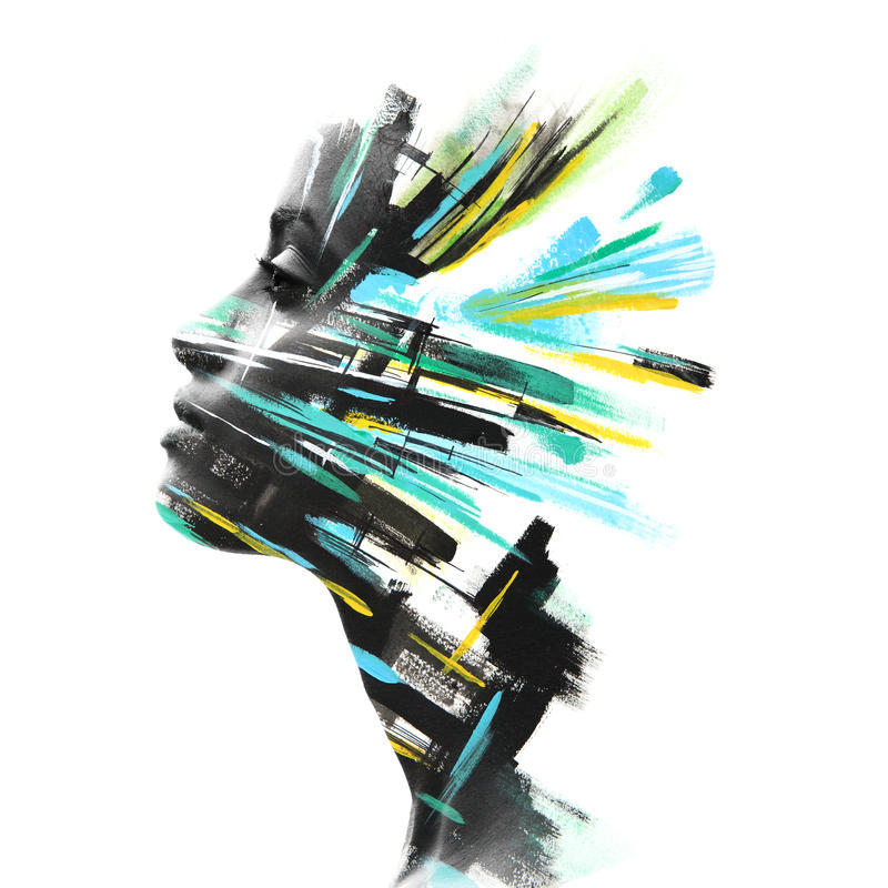 Paintography, φωτογραφία που συνδυάζεται με συρμένη τη χέρι τέχνη στοκ εικόνες