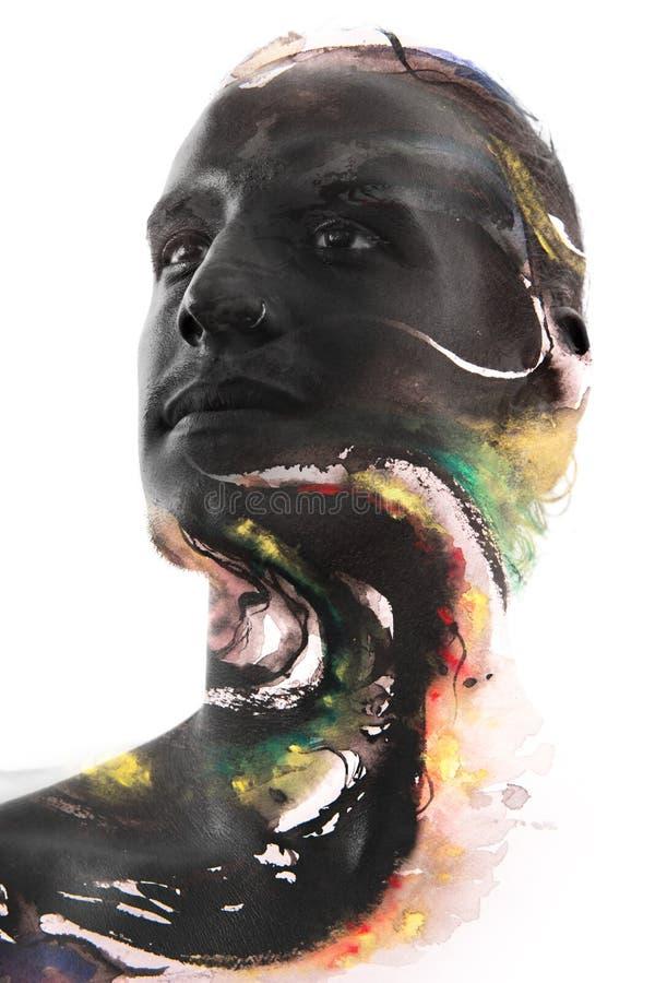 Paintography Aantrekkelijk sexy die model met kleurrijke hand wordt gecombineerd stock illustratie