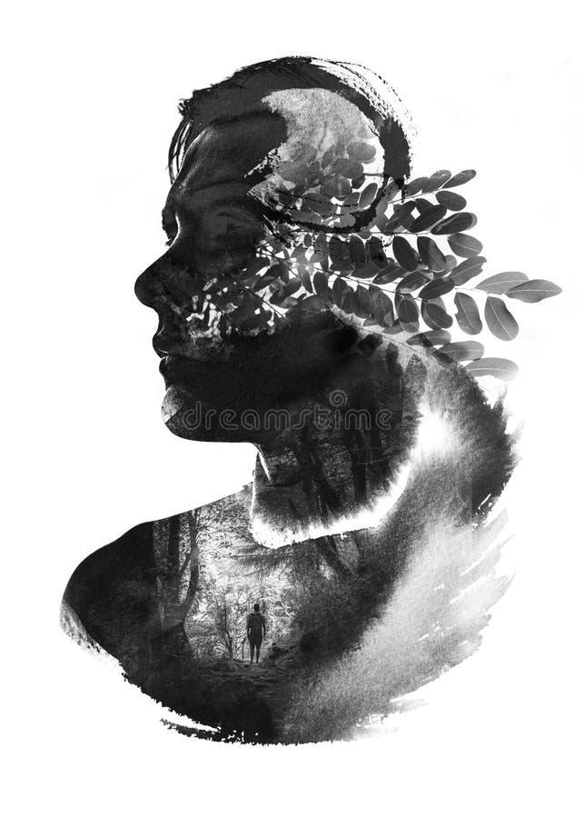 Paintography av mannen och naturen som enas till och med beståndsdelarna royaltyfri bild