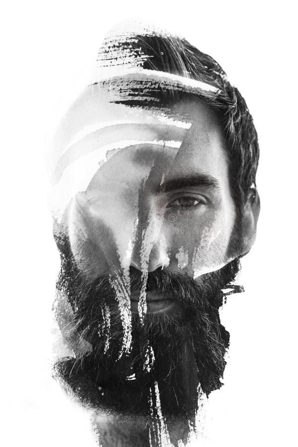 Paintography, close-upfoto met inkt het schilderen wordt gecombineerd die royalty-vrije stock foto