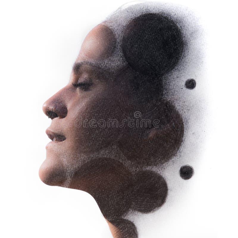 Paintography Desenho de carvão vegetal da exposição dobro combinado com o por imagem de stock
