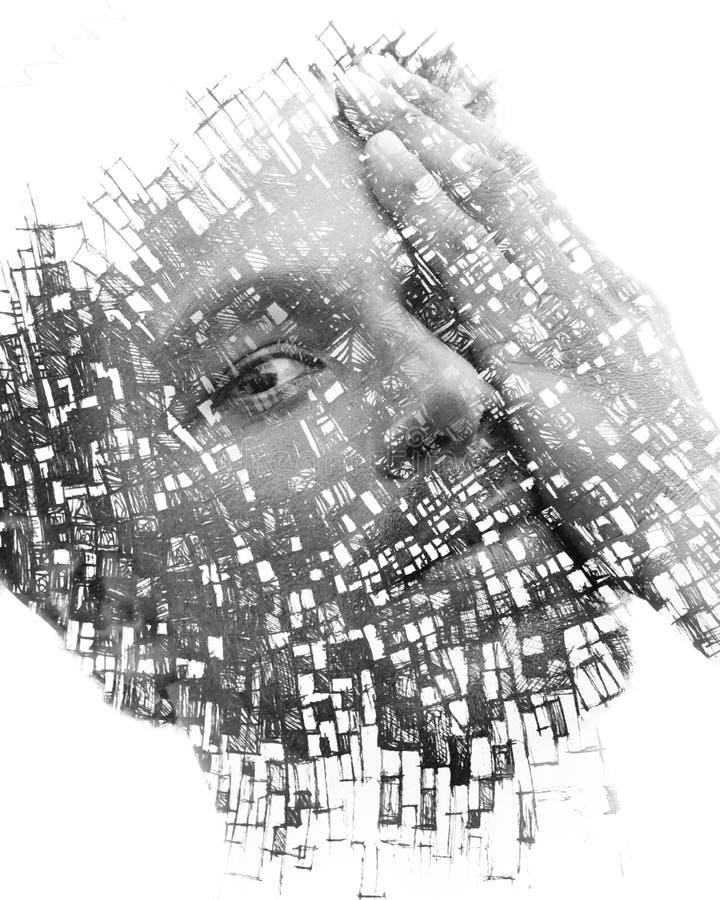 Paintography Doppelbelichtung eines attraktiven männlichen Modells kombiniert mit Handgezogenen Malereien mit den Linien und Geom stockbild