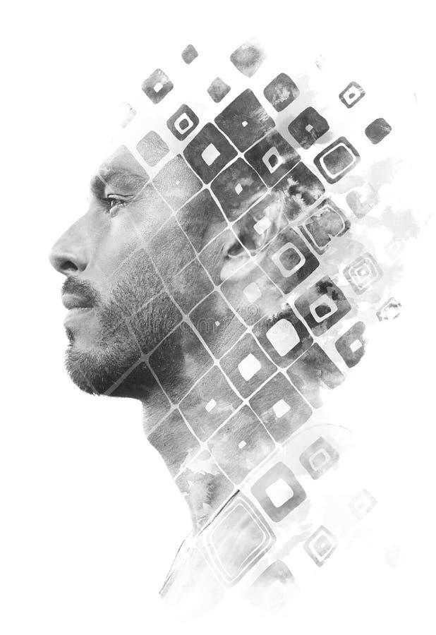 Paintography Doppelbelichtung eines attraktiven männlichen Modells kombiniert mit Handgezogenen Tintenmalereien mit der Geometrie stockfotografie