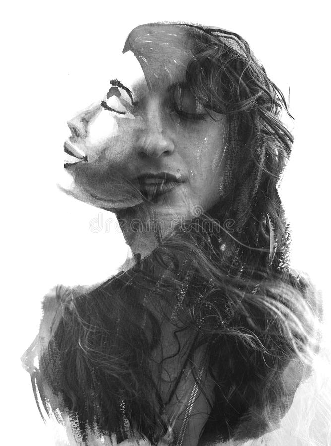 Paintography Doppelbelichtungsmalerei kombiniert mit einem Porträt lizenzfreies stockbild