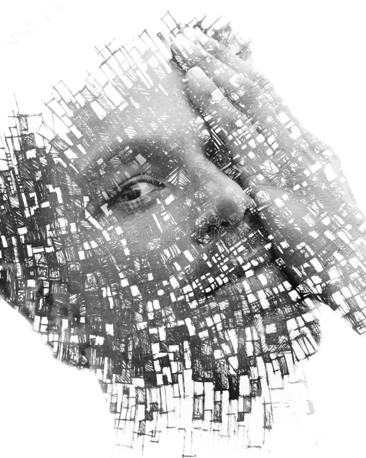 Paintography. Double exposure of an attractive male model combined with hand drawn paintings with lines and geometry, black and stock image