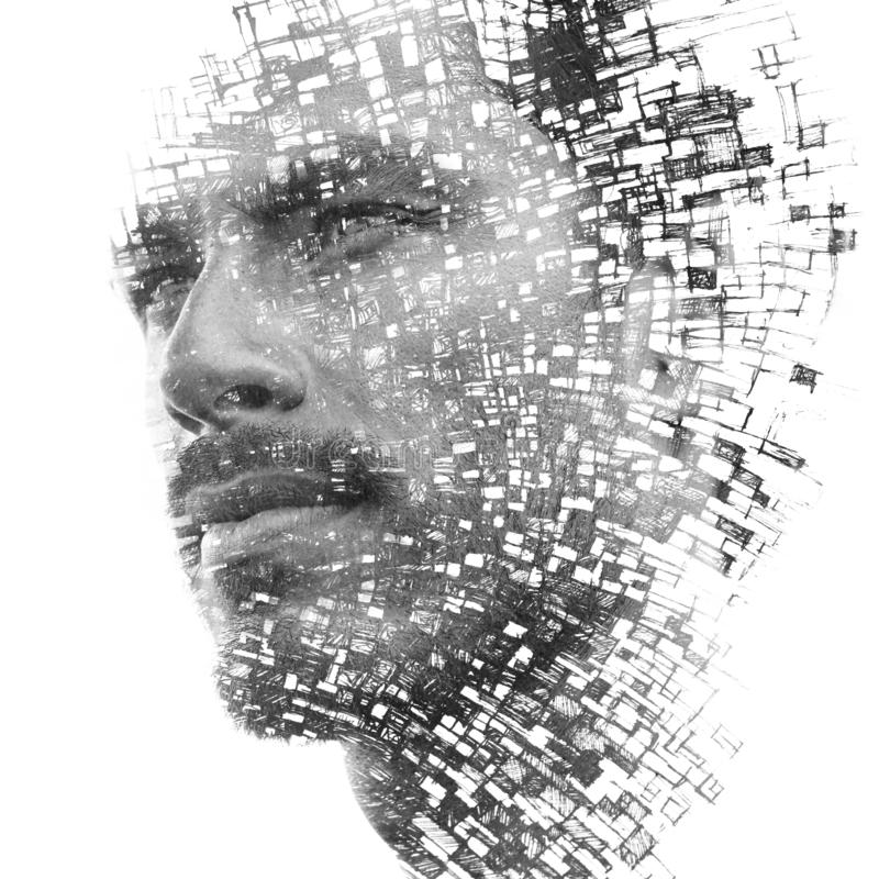 Paintography. Double exposure of an attractive male model combined with hand drawn paintings with lines and geometry, black and stock illustration