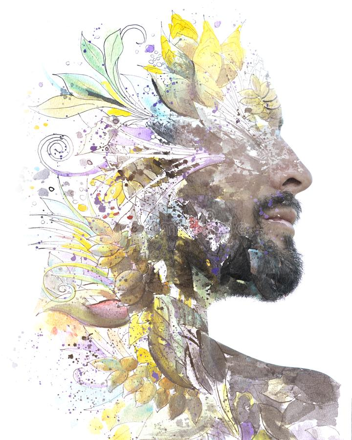 Paintography. Double exposure. Close up portrait of man with strong features and light beard dissolving behind hand painted floral royalty free stock images