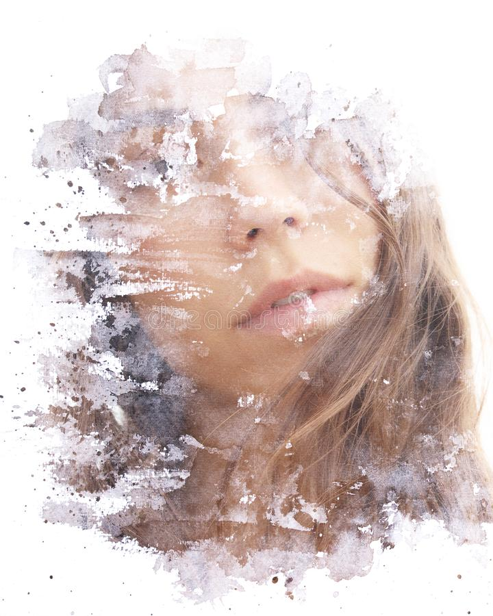 Paintography. Double exposure. Close up of an attractive model combined with hand drawn ink painting seemingly dissolving her face royalty free stock images