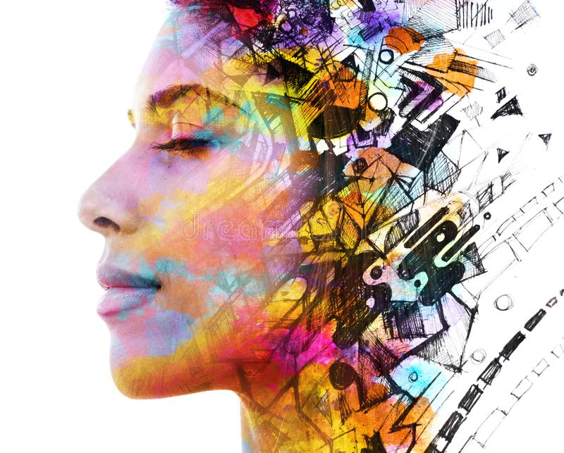 Paintography. Double Exposure portrait of a beautiful exotic woman combined with hand drawn ink painting of symbols and shapes on. Double exposure profile stock photo