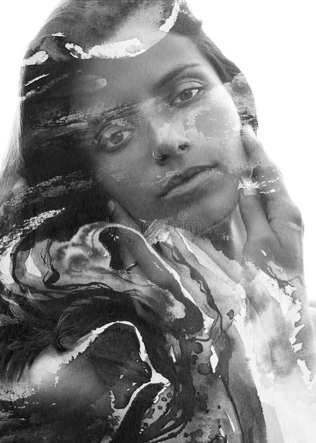 Paintography Dubbel blootstellings dicht omhooggaand portret van jongelui, pret vector illustratie