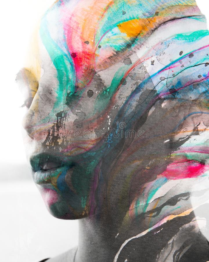 Paintography Dubbel blootstellings dicht omhooggaand portret van jongelui, pret stock illustratie