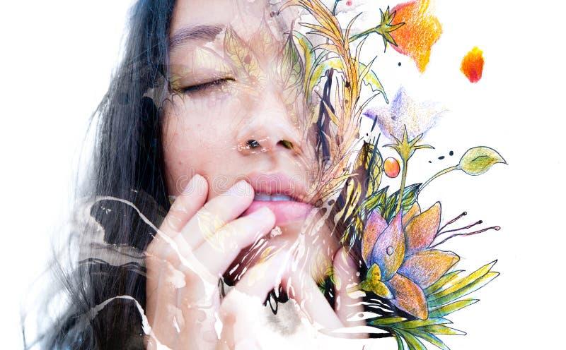 Paintography Dubbel blootstellingsclose-up van een sensuele vreedzame asi stock illustratie