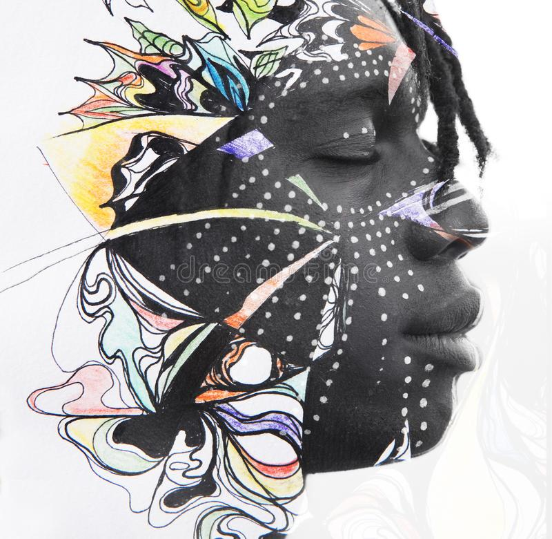 Paintography Dubbel blootstellingsportret van de ontspannen Afrikaanse mede mens royalty-vrije stock fotografie