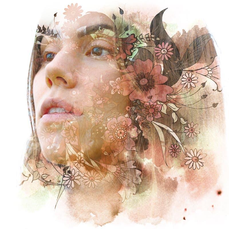 Paintography Dubbel blootstellingsportret van een jonge natuurlijke schoonheid met bruin die haar, met hand getrokken kleurrijke  royalty-vrije illustratie