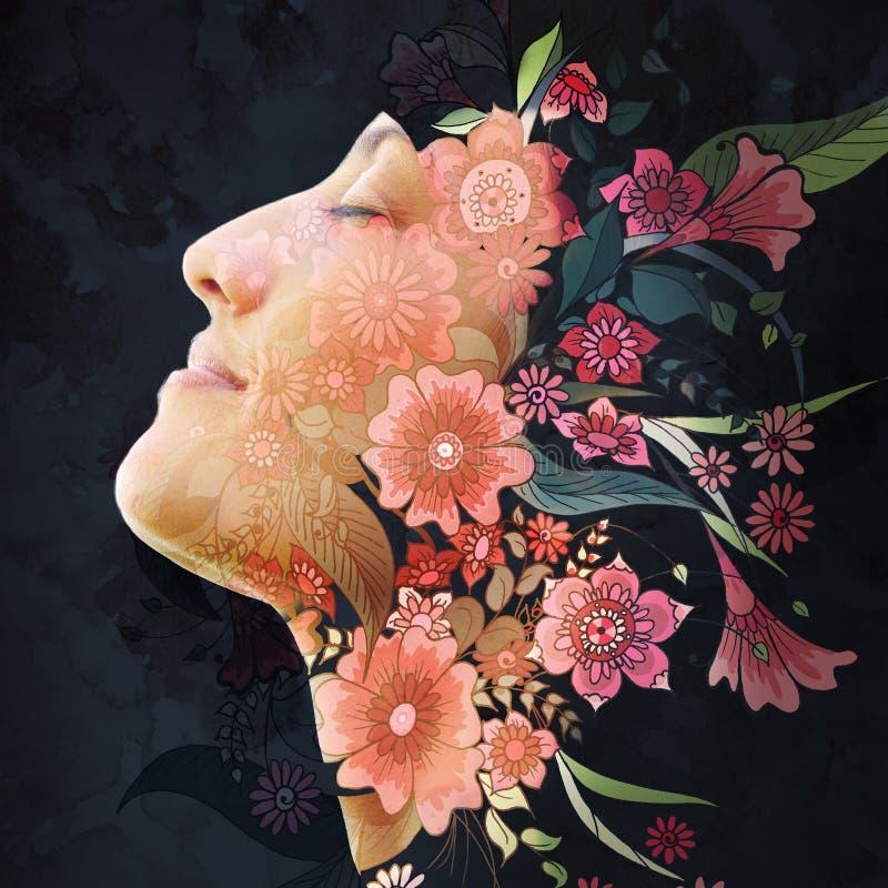 Paintography Dubbel blootstellingsprofiel dat van een jonge natuurlijke schoonheid met gesloten ogen, en zacht haar ontspant over vector illustratie
