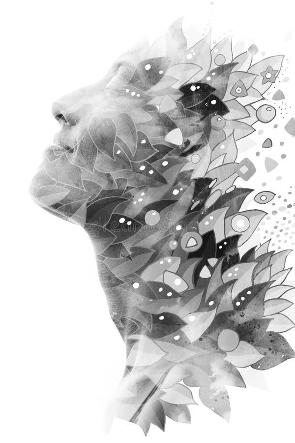 Paintography Dubbel blootstellingsprofiel die van een jonge natuurlijke schoonheid met gesloten ogen, aangezien haar gezicht en h royalty-vrije illustratie