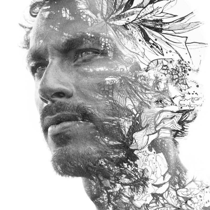 Paintography Dubbele blootstelling Sluit omhoog portret van de mens met sterke eigenschappen en het lichte baard oplossen achter  vector illustratie