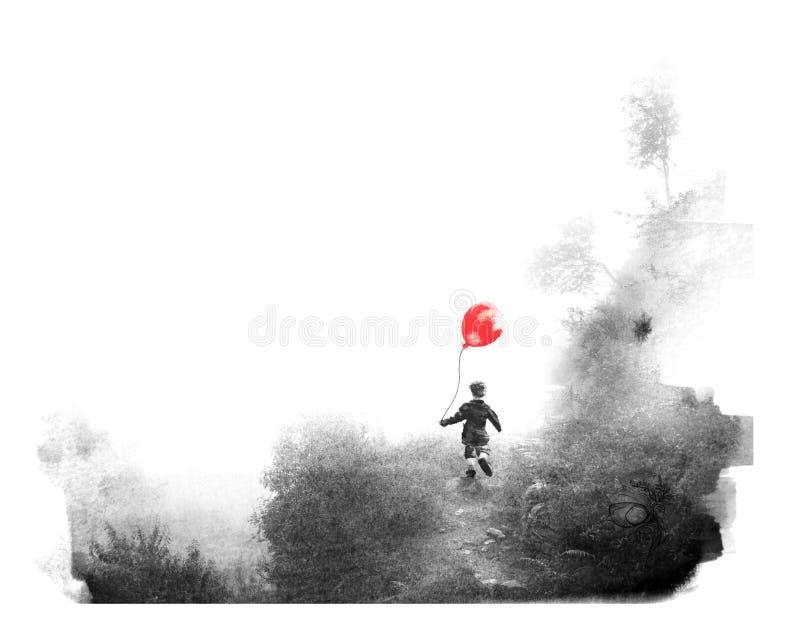 Paintography, een foto met een tekening wordt gecombineerd die stock illustratie