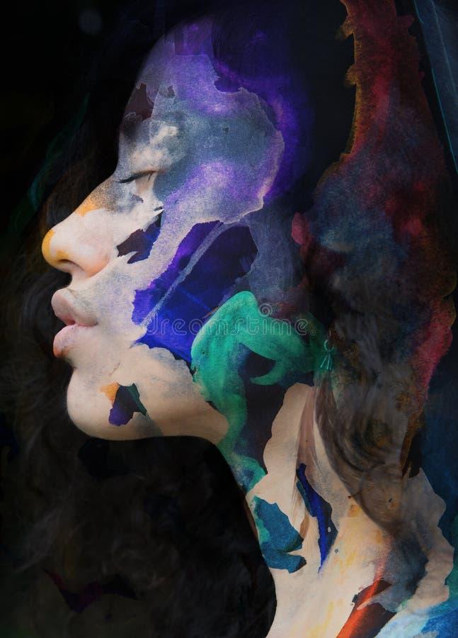 Paintography Exposição dobro da pintura colorida combinada com fotos de stock royalty free