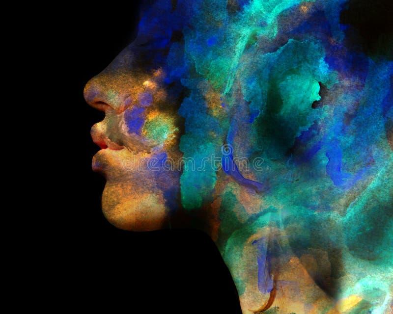 Paintography Exposição dobro da pintura de néon colorida combinada foto de stock