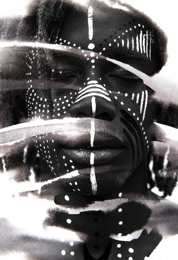 Paintography Expressieve Afrikaanse die mens met dramatische twijfel wordt gecombineerd stock afbeeldingen