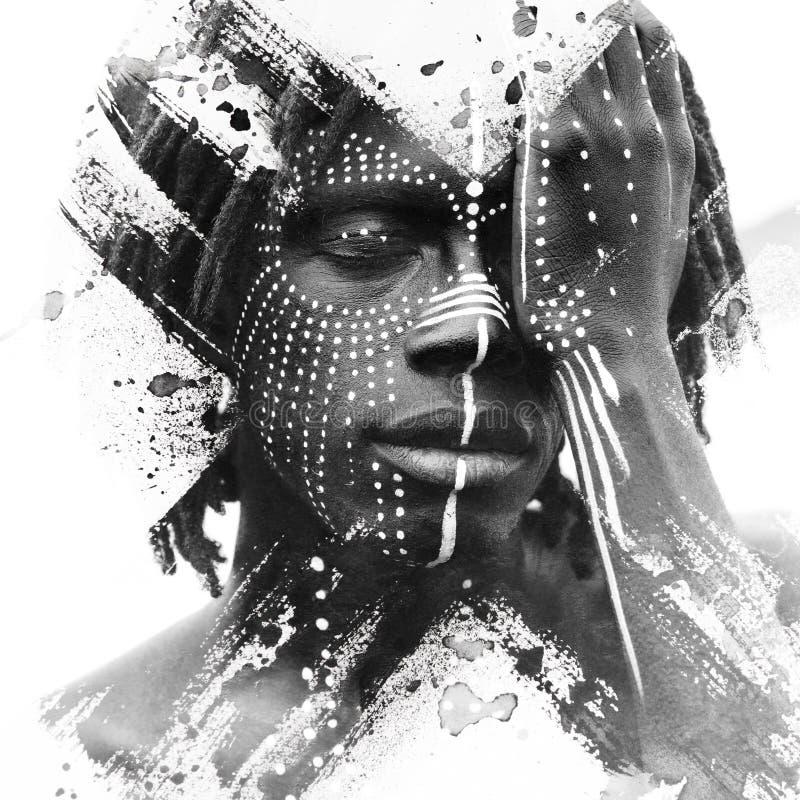 Paintography Expressieve Afrikaanse die mens met het overweldigen wordt gecombineerd royalty-vrije stock afbeelding