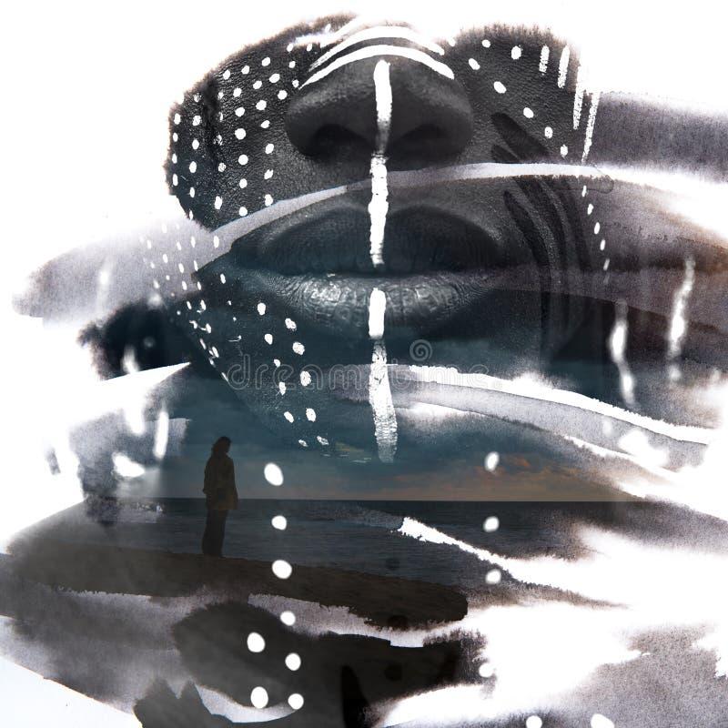Paintography Expressieve Afrikaanse die mens met overweldigende twijfel wordt gecombineerd royalty-vrije stock foto