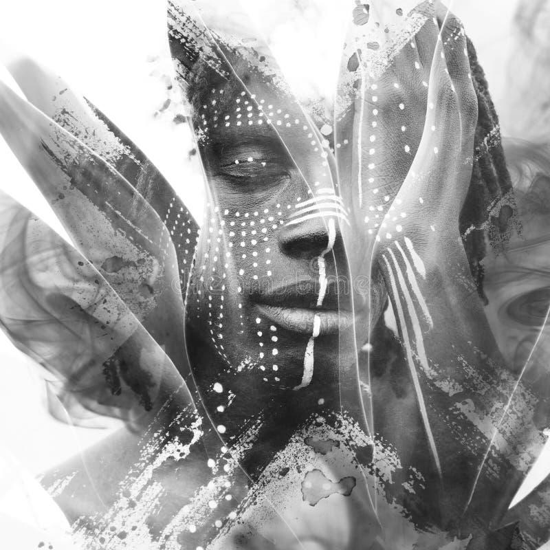 Paintography Expressieve Afrikaanse die mens met overweldigende twijfel wordt gecombineerd royalty-vrije illustratie