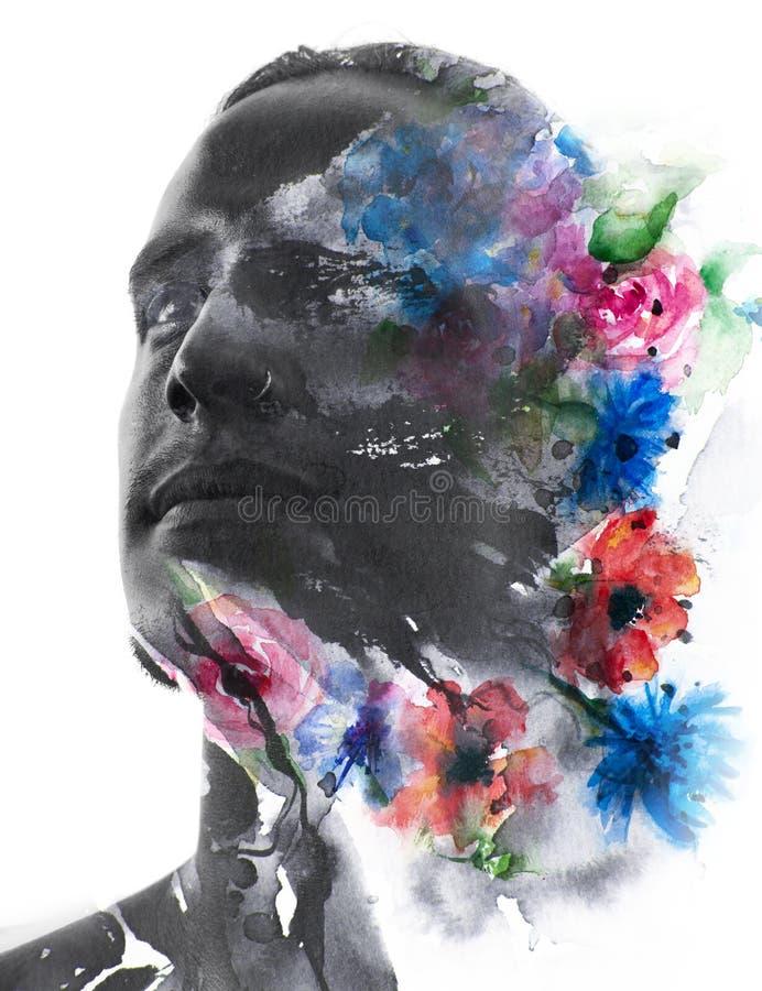 Paintography Feche acima do homem com características fortes e sem falhas ilustração stock