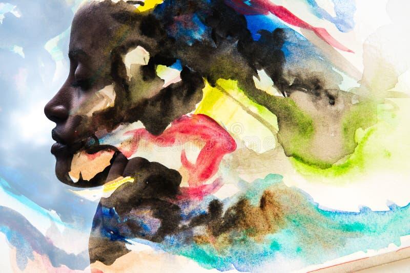 Paintography, Foto met watercolour het schilderen wordt gecombineerd die royalty-vrije stock fotografie