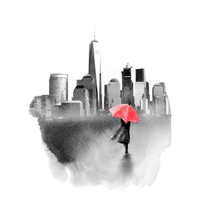 Paintography, foto van de stadshorizon van New York wordt gecombineerd die met vector illustratie