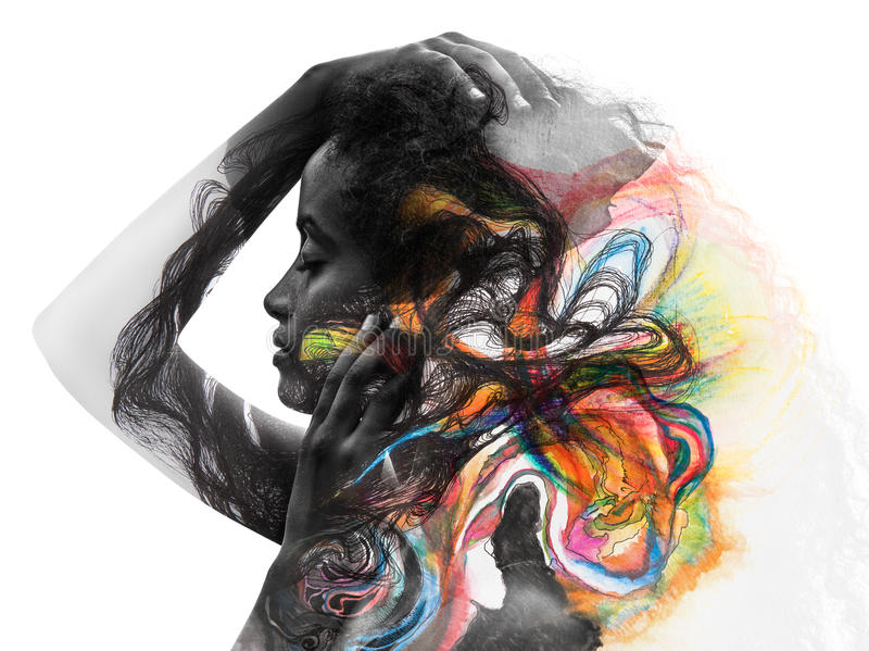 Paintography, Fotografie kombiniert mit Kunst stockfotos