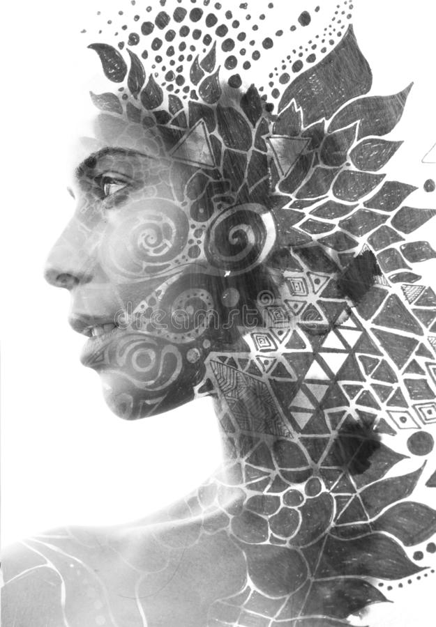 Paintography Het dubbele Blootstellingsportret van een jonge mooie vrouw combineerde met hand getrokken inkt schilderend het gecr vector illustratie