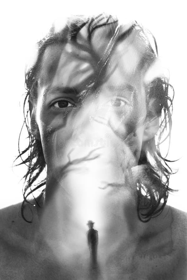 Paintography Het gecombineerde portret en schilderen geven geheimzinnig, stock afbeelding