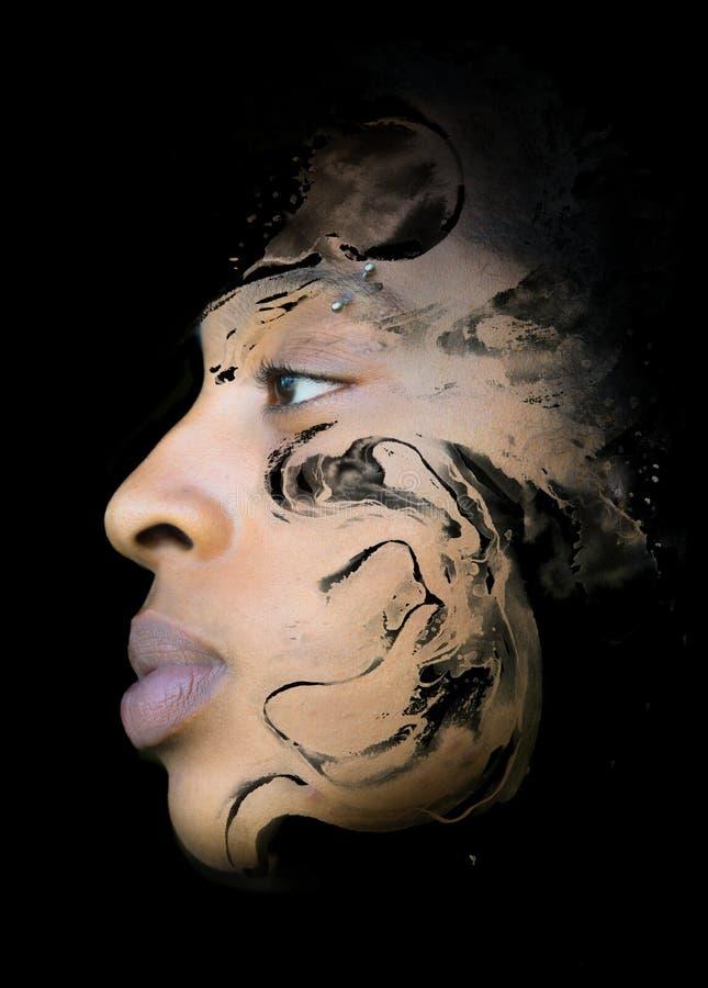 Paintography, inkt schilderen gecombineerd met een portret van sensueel royalty-vrije illustratie