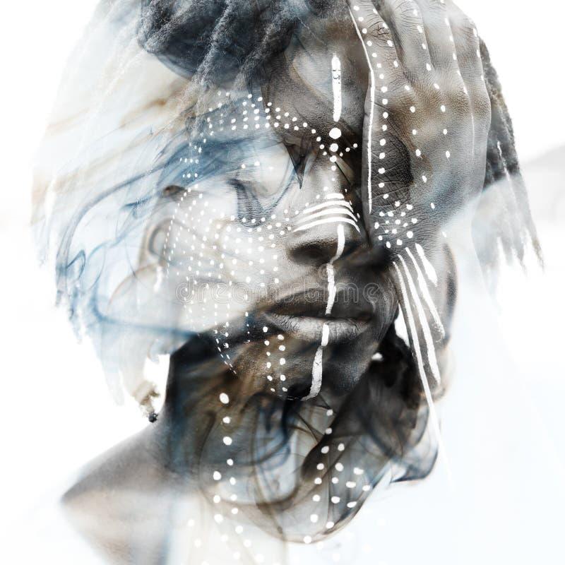 Paintography L'homme africain sexy a combiné avec le double renversant exp illustration de vecteur