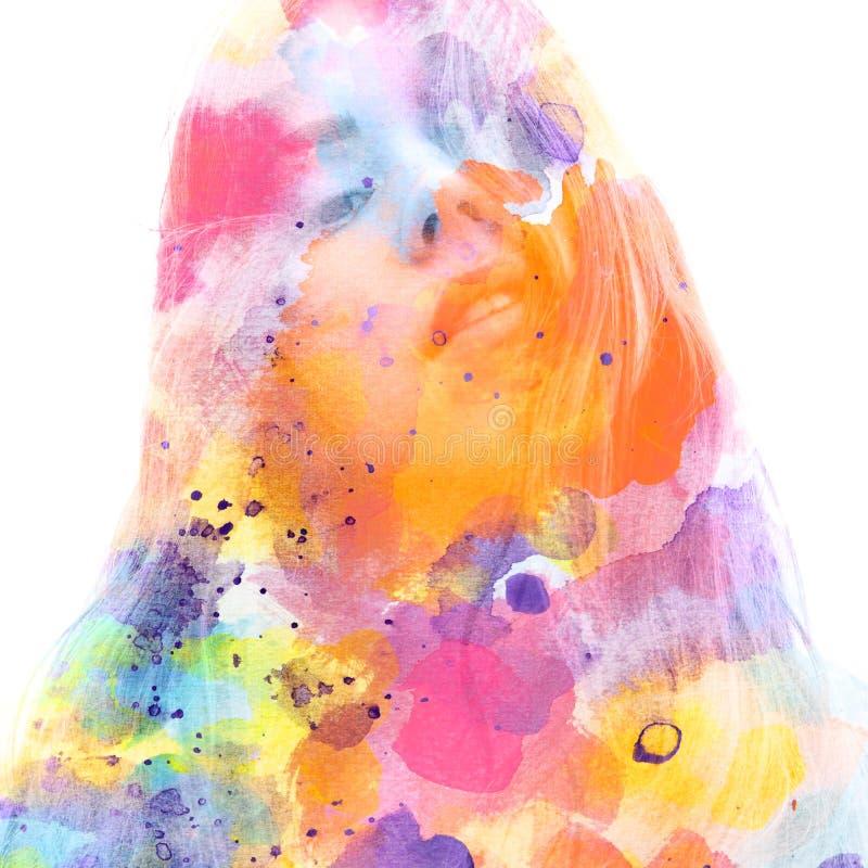 Paintography o Κλείστε επάνω ενός ελκυστικού προτύπου που συνδυάζεται με τα ζωηρόχρωμα συρμένα χέρι acryllic έργα ζωγραφικής με στοκ εικόνα με δικαίωμα ελεύθερης χρήσης
