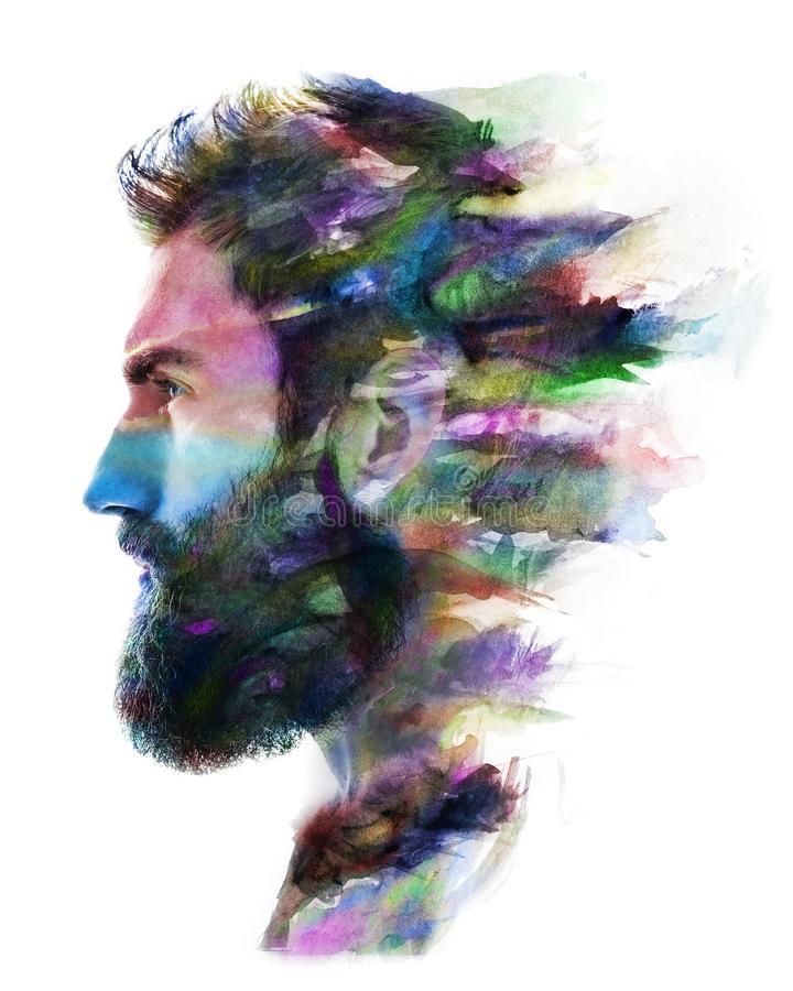 Paintography, photogrtaph gecombineerd met het schilderen stock illustratie