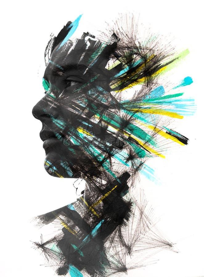 Paintography, portret met geschilderde borstelslagen wordt gecombineerd en D die stock illustratie
