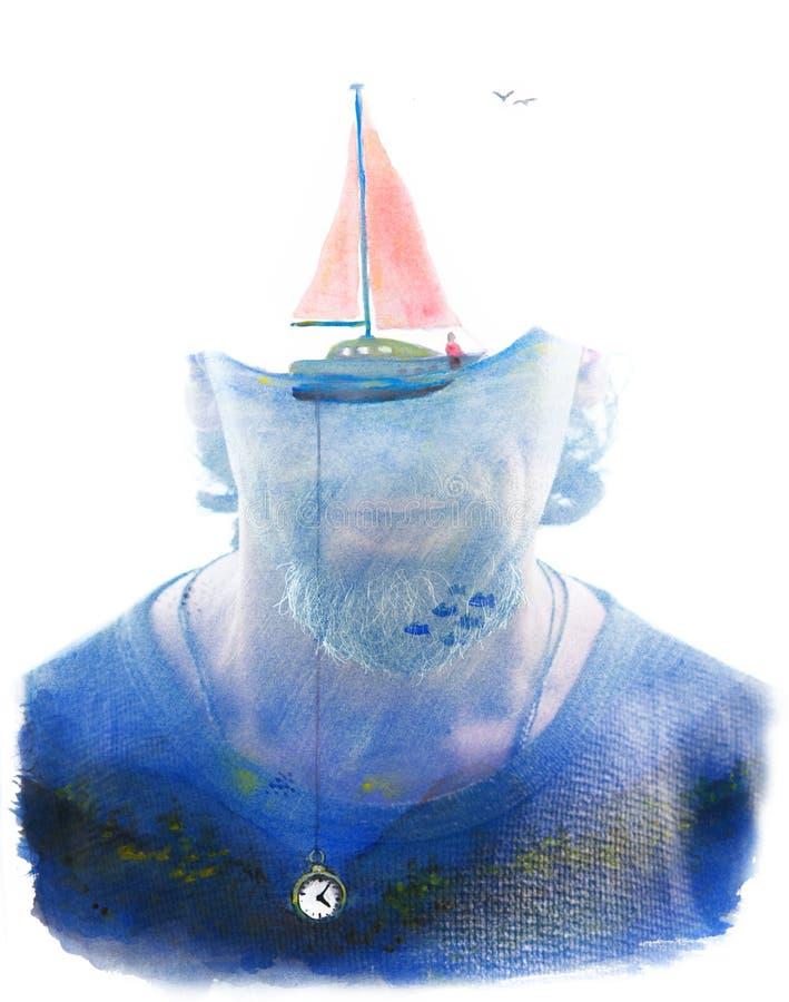 Paintography Portret met surreal watercolourpaintin die wordt gecombineerd vector illustratie