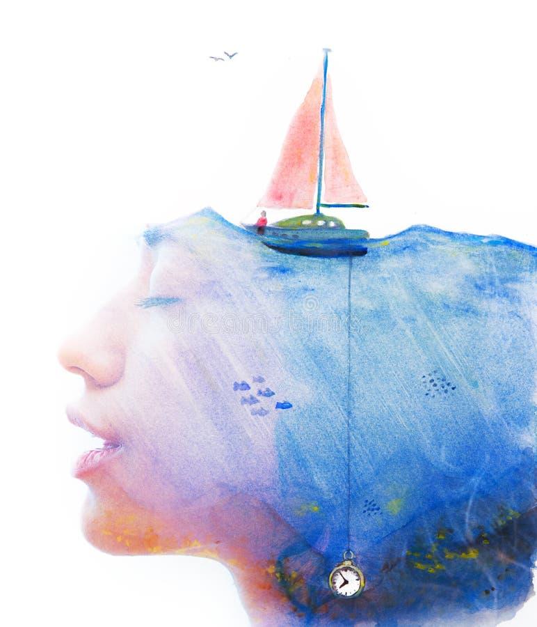 Paintography Portret met surreal watercolourpaintin die wordt gecombineerd stock illustratie
